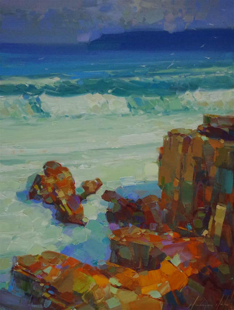 South Bay, Seascape oil Painting, Handmade art, One of a Kind, Signed with Certificate of Authenticity