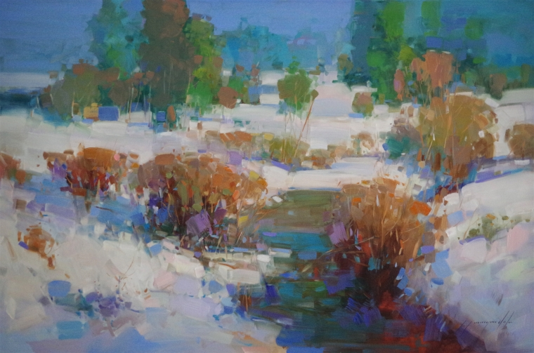 Winter Time, Landscape oil Painting, Handmade art, One of a Kind, Signed with Certificate of Authenticity