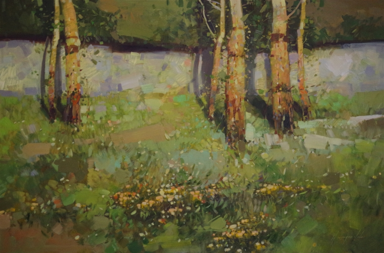 Birches Landscape oil Painting, Handmade art, One of a Kind, Signed with Certificate of Authenticity
