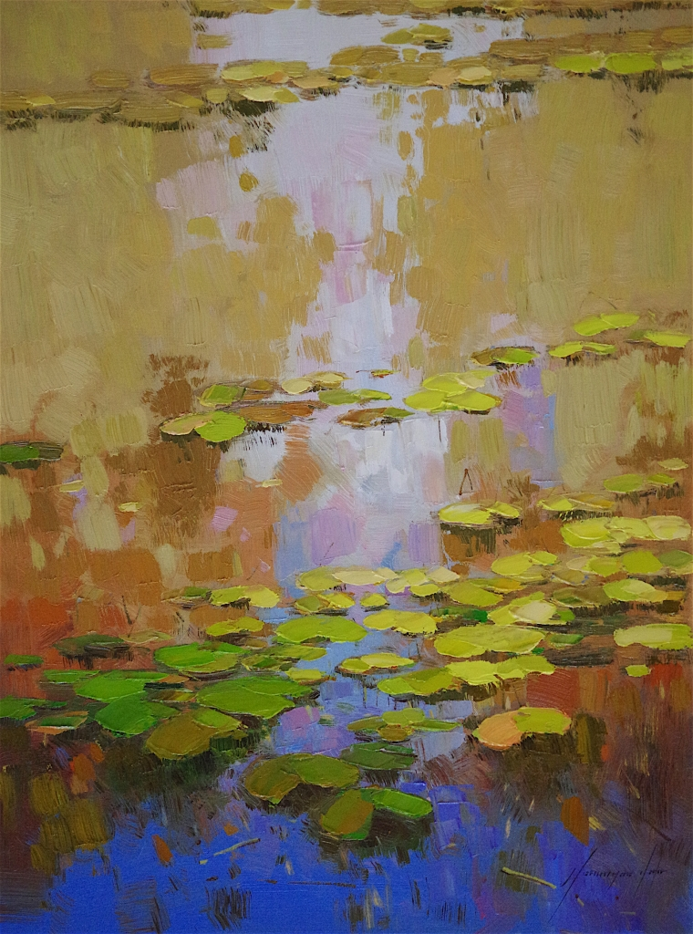 Waterlilies Garden, oil Painting, Handmade art, One of a Kind, Signed with Certificate of Authenticity