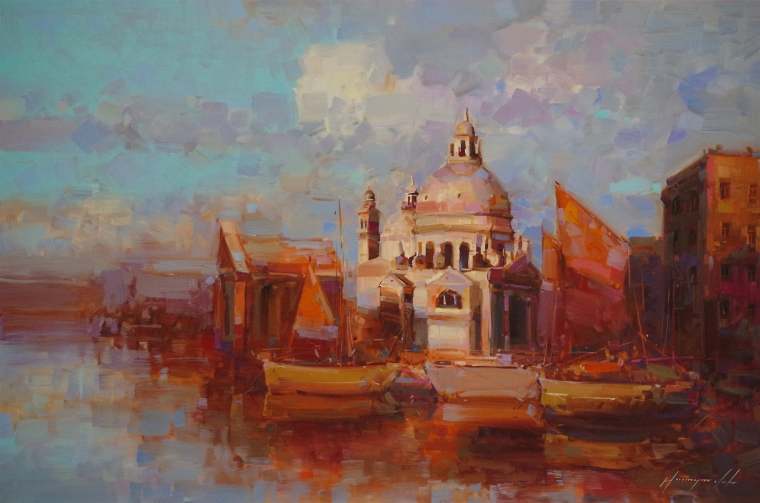 Santa Maria Della Salute, Cityscape oil Painting, Handmade art, One of a Kind, Signed with Certificate of Authenticity