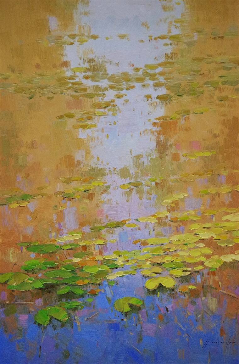 Waterlilies -Autumn Palette, oil Painting, Handmade art, One of a Kind, Signed with Certificate of Authenticity