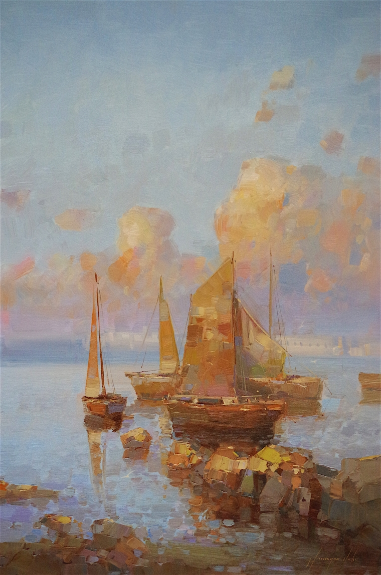 Sail Boats oil Painting, large Size Handmade art, One of a Kind, Signed with Certificate of Authenticity