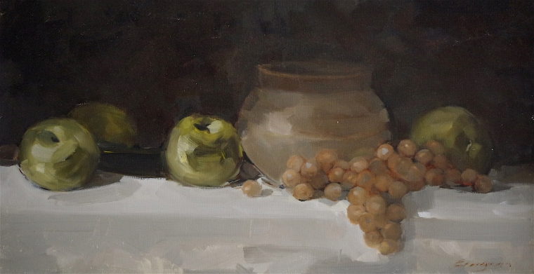 Still Life with Grapes and Jug, Original  oil Painting, Handmade art, One of a Kind, Signed with Certificate of Authenticity