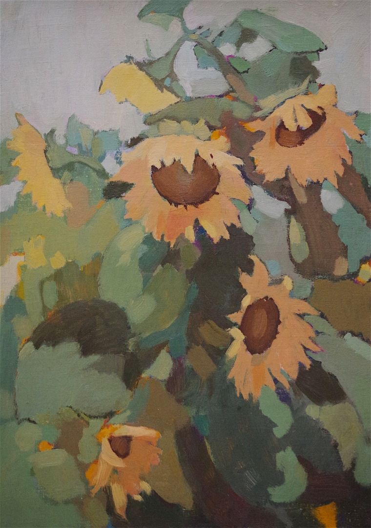 SunFlowers oil Painting, Contemporary handmade art, One of a Kind, Signed with Certificate of Authenticity