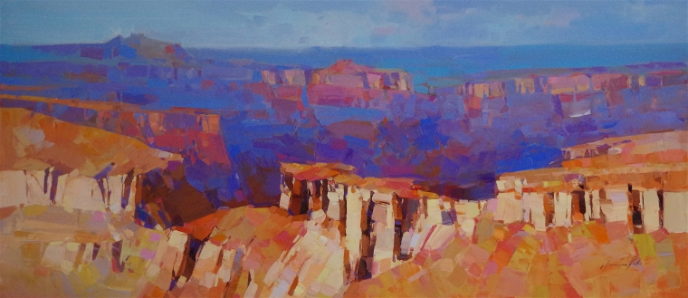 Grand Canyon Arizona, oil Painting, large Size Handmade art, One of a Kind, Signed with Certificate of Authenticity