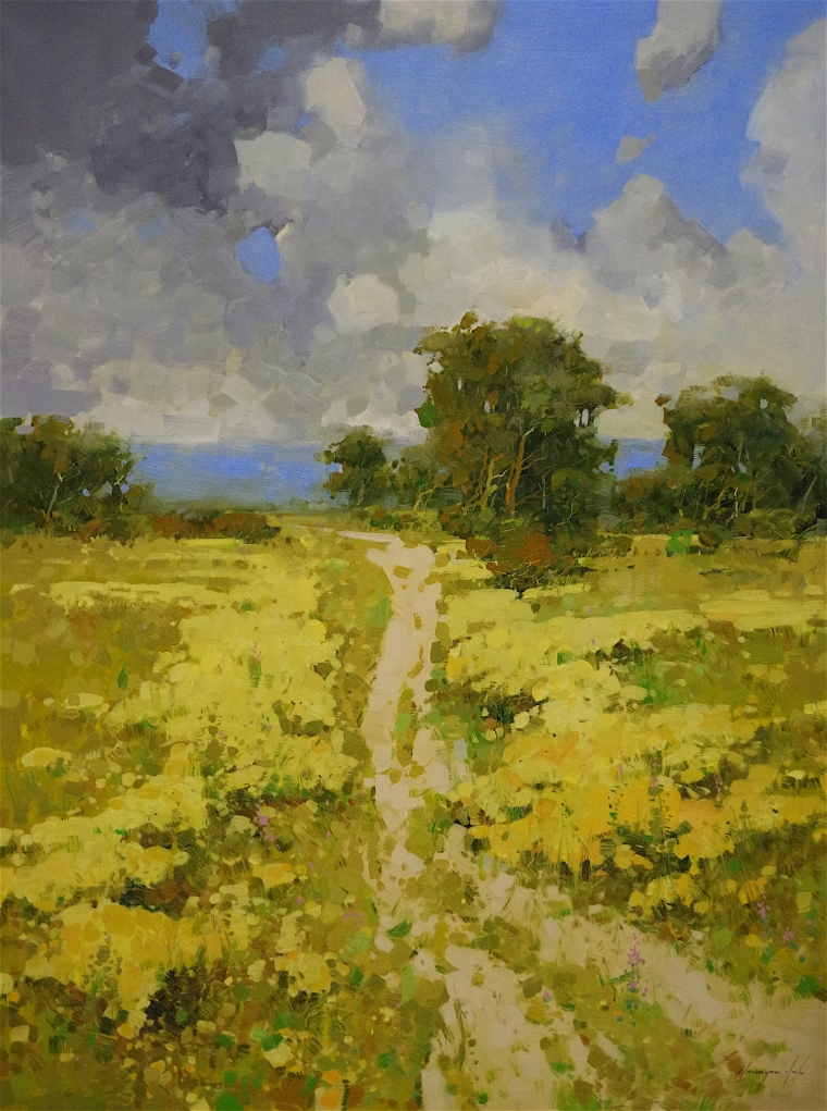 Meadow, Landscape oil Painting, large Size Handmade art, One of a Kind, Signed with Certificate of Authenticity