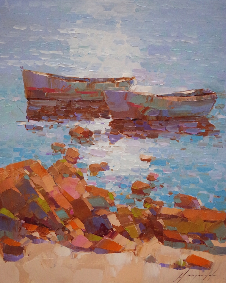 Fishing Boats, Seascape oil Painting, large Size Handmade art, One of a Kind, Signed with Certificate of Authenticity
