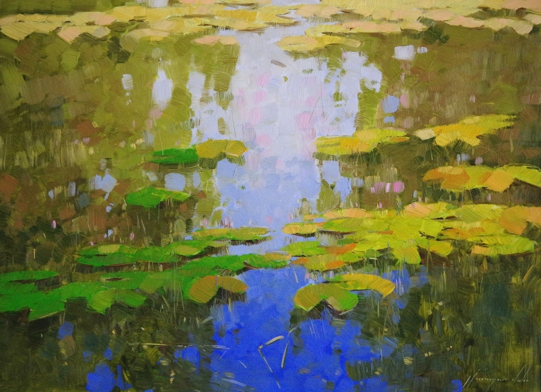 Waterlilies Pond, oil Painting, Handmade art, One of a Kind, Signed with Certificate of Authenticity
