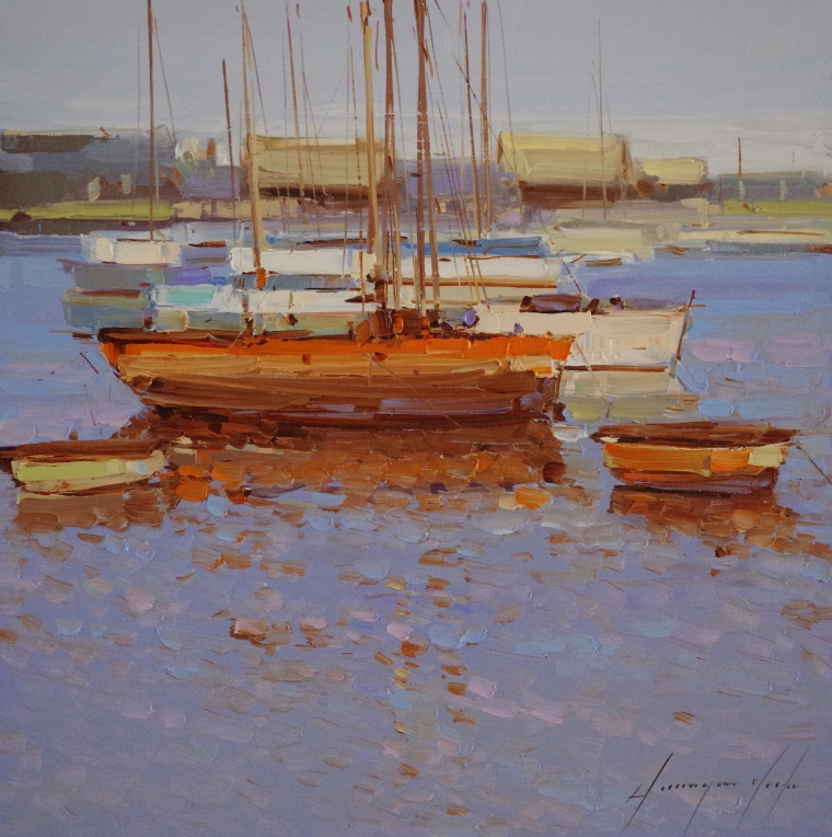 Sail Boats,  Seascape oil Painting, Handmade art, One of a Kind, Signed with Certificate of Authenticity