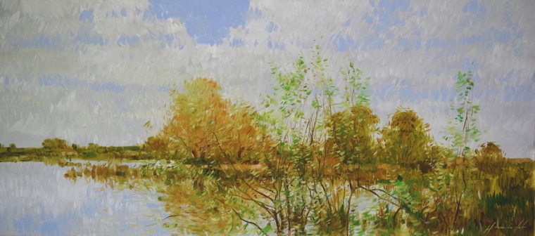 Lake Side, Landscape oil Painting, large Size Handmade art, One of a Kind, Signed with Certificate of Authenticity
