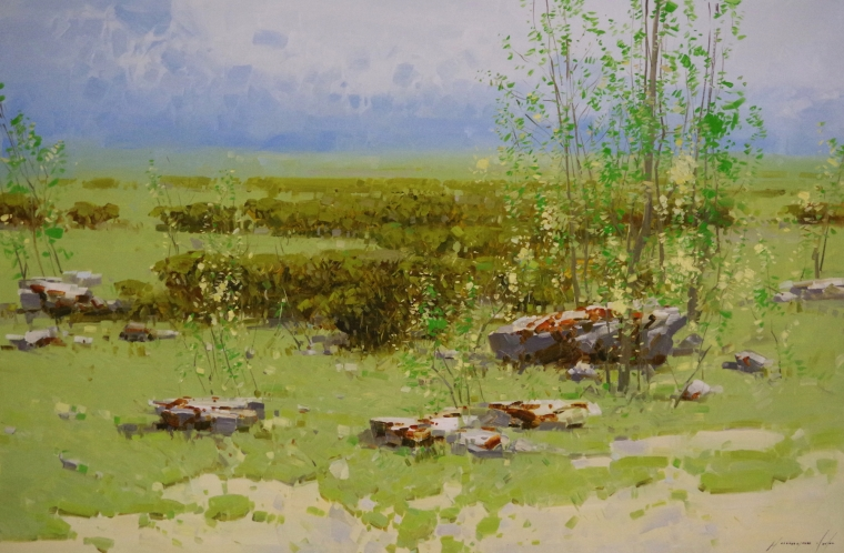 Meadow- Summer time, Landscape oil Painting, large Size Handmade art, One of a Kind, Signed with Certificate of Authenticity