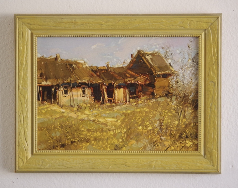 Farm, Original oil Painting, Handmade art, Framed, One of a Kind, Signed with Certificate of Authenticity