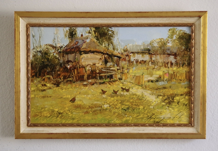 Village, Original oil Painting, Handmade art, Framed, One of a Kind, Signed with Certificate of Authenticity