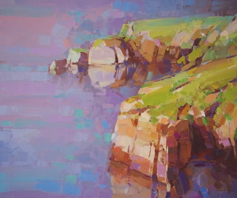 The Cliffs, Seascape oil Painting, Handmade art, One of a Kind, Signed