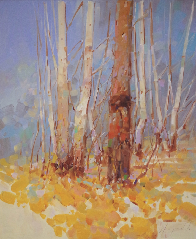 Autumn Trees, Landscape oil Painting, Handmade art, One of a Kind, Signed with Certificate of Authenticity