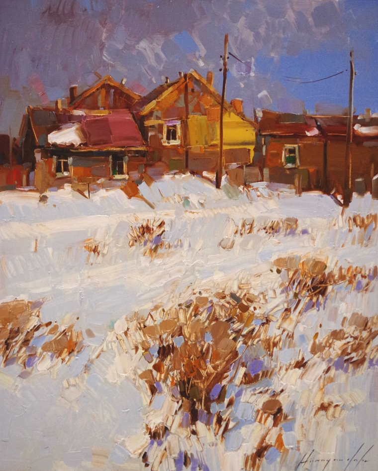 Winter in Village, Landscape oil Painting, Handmade art, One of a Kind, Signed