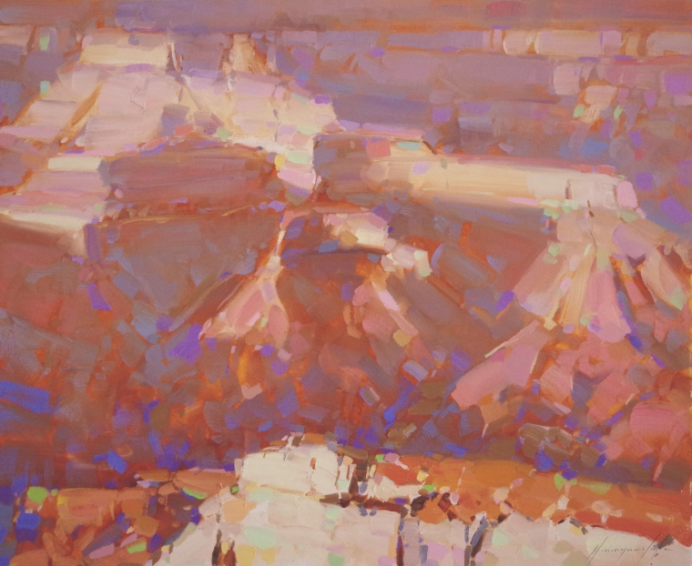 Grand Canyon, Landscape oil Painting, Handmade art, One of a Kind, Signed with Certificate of Authenticity