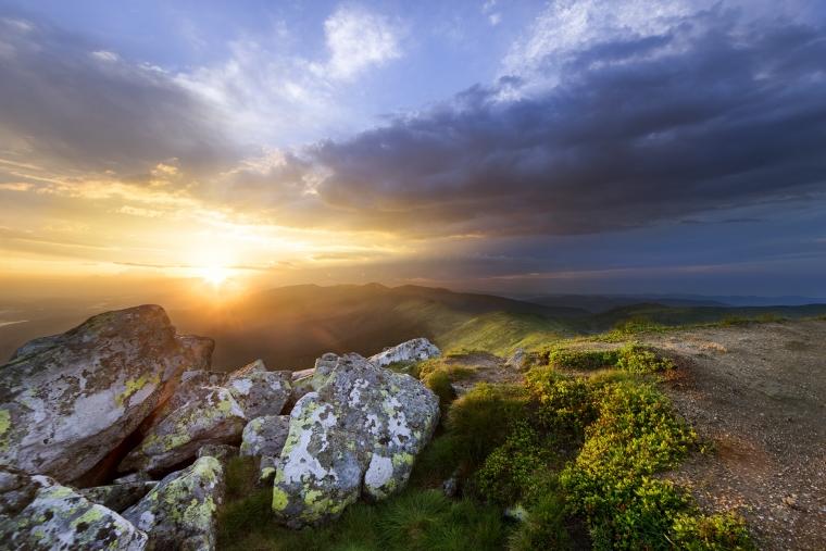 Sunset Stone On Mountains
