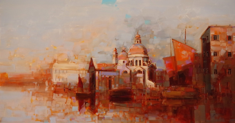 Santa Maria Della Salute, Venice, Cityscape oil Painting, large Size Handmade art, One of a Kind, Signed