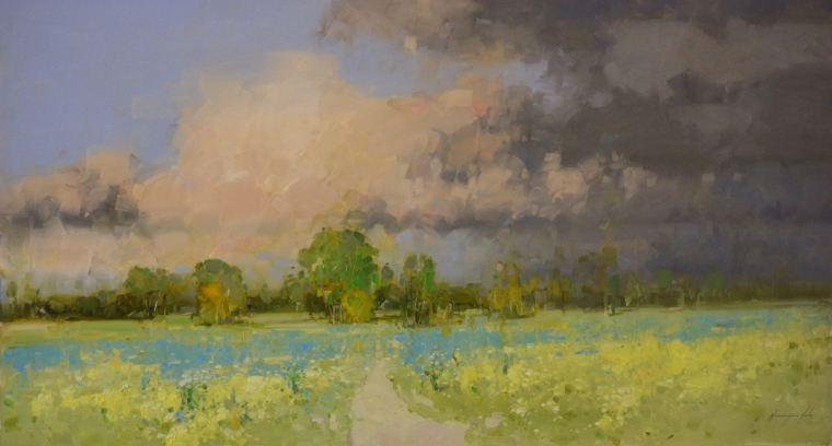 Starting Rain, Landscape oil Painting, large Size Handmade art, One of a Kind, Signed with Certificate of Authenticity