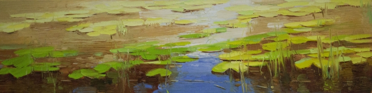 Waterlilies, oil Painting, Handmade art, One of a Kind, Signed