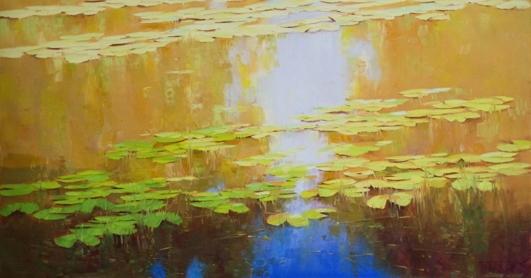 Waterlilies- Autumn Palette, Original Oil Painting, large Size Handmade art, One of a Kind, Signed with Certificate of Authenticity