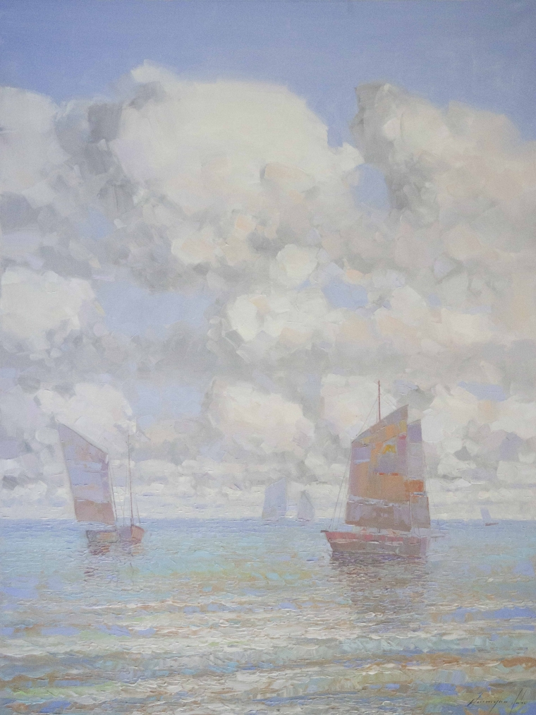 Sail Boats Seascape oil Painting, large Size Handmade art, One of a Kind, Signed