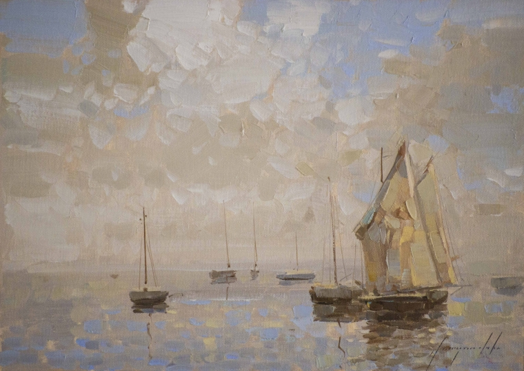 Sail Boats, Handmade oil Painting, Original Handmade art, One of a Kind, Signed