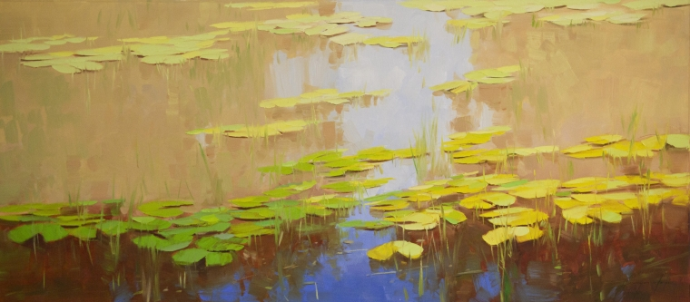 Waterlilies Pond, Original Oil Painting, large Size Handmade art, One of a Kind, Signed with Certificate of Authenticity