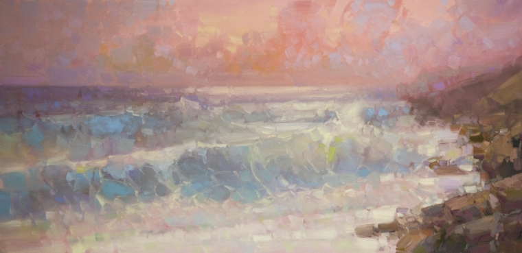 Ocean Waves Seascape oil Painting, large Size Handmade art, One of a Kind, Signed