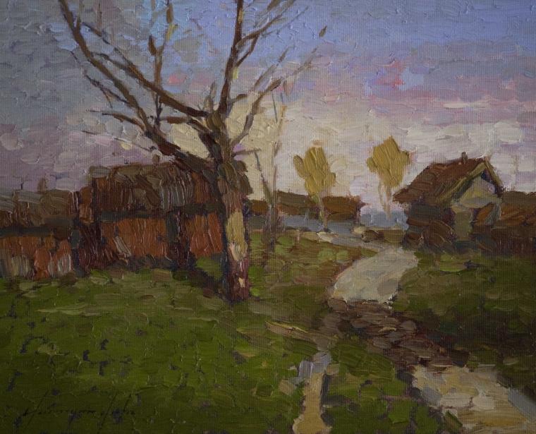 Village Yard, Landscape oil Painting, Original Handmade art, One of a Kind, Signed