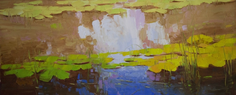 Waterlilies, Landscape oil Painting, Original Handmade art, One of a Kind, Signed