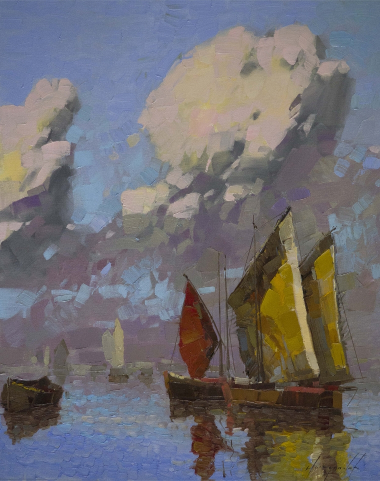 Sail Boats, Seascape oil Painting, Original Handmade art, One of a Kind, Signed