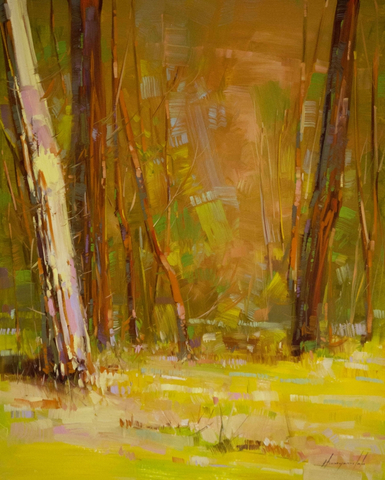 Autumn Trees, Landscape Original oil Painting, Handmade art, One of a Kind, Signed