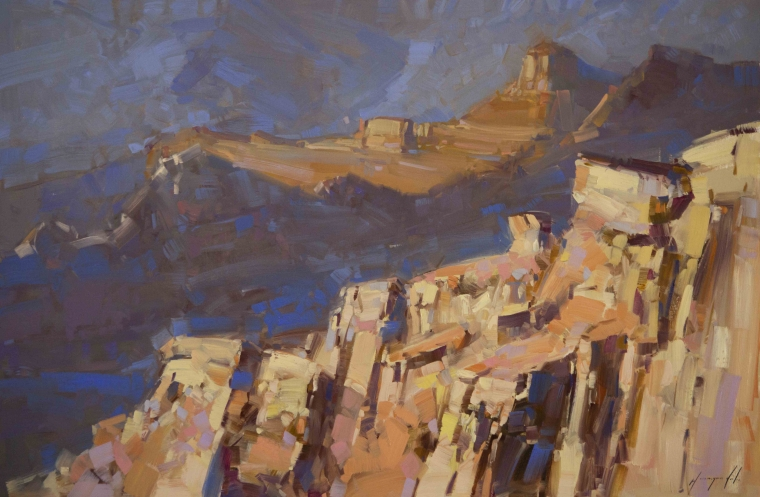 Grand Canyon South Rim, Landscape oil Painting, Handmade art, One of a Kind, Signed