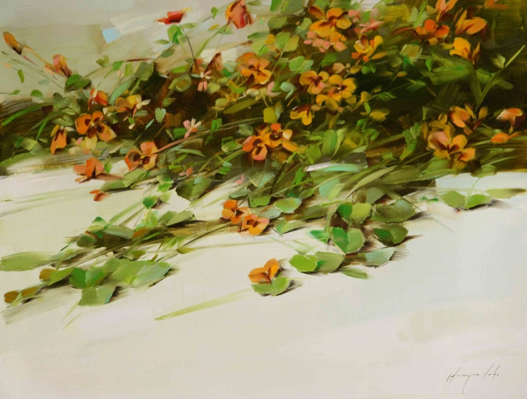 Pansies, Original Oil Painting, Handmade art, One of a Kind, Signed with Certificate of Authenticity