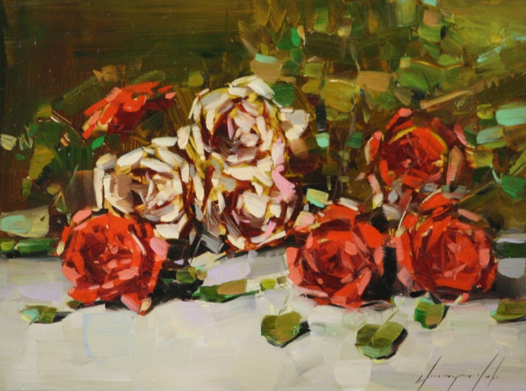 Roses, Original oil Painting, Handmade art, One of a Kind, Signed
