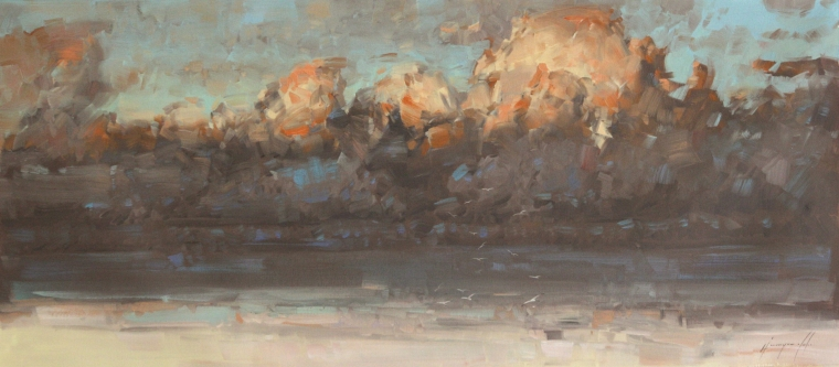 Ocean Clouds, Seascape oil Painting, large Size Handmade art, One of a Kind, Signed