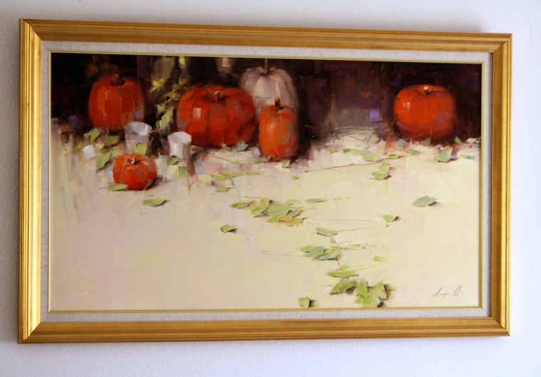 Still Life with Pumpkins Original oil Painting, Handmade art, Ready to hang, One of a Kind, Signed