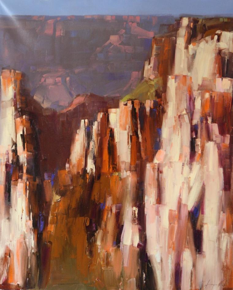 Grand Canyon, Contemporary Landscape oil Painting, Large Size Handmade art, One of a Kind, Signed