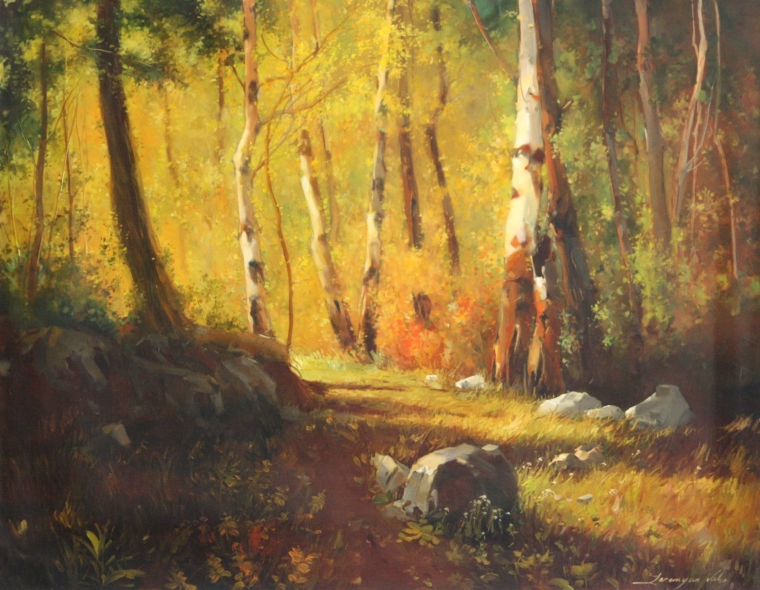 Forest, Landscape Original oil Painting, Handmade art, One of a Kind, Signed