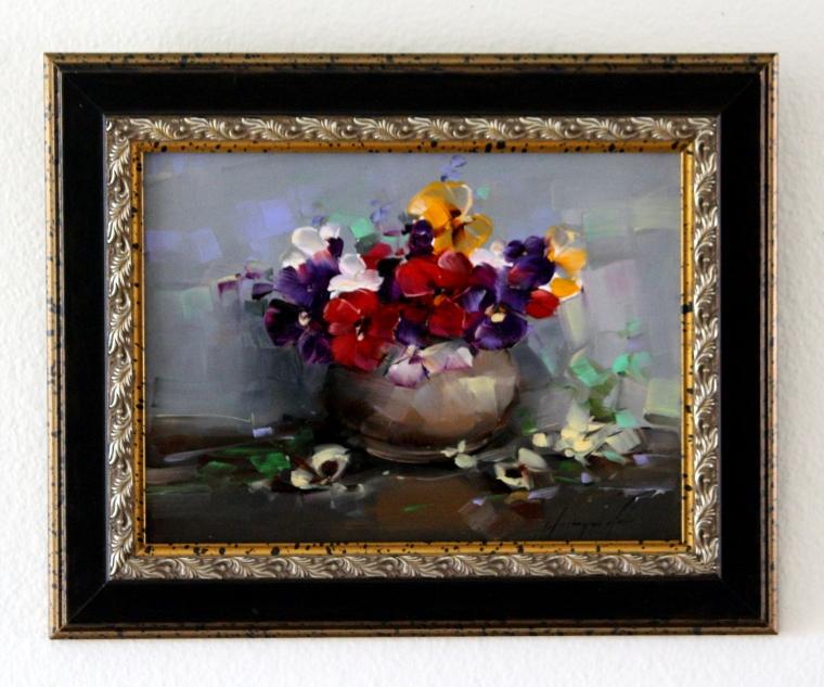 Vase of Pansies, Original oil Painting, Handmade art, Framed, One of a Kind, Signed