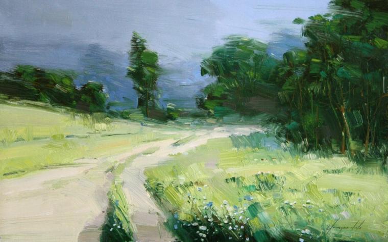 Cobalt Summer, Landscape Original oil Painting, Handmade art, One of a Kind, Signed