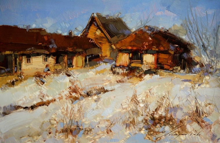 Village Farm, Landscape Original oil Painting, Handmade art, One of a Kind, Signed