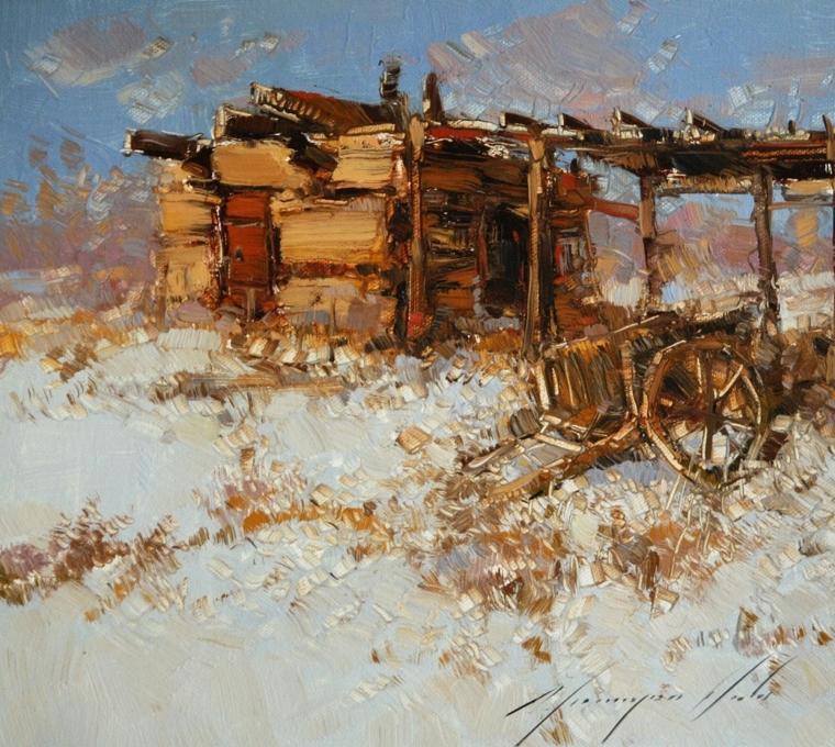 Village, Landscape Original oil Painting, Handmade art, One of a Kind, Signed