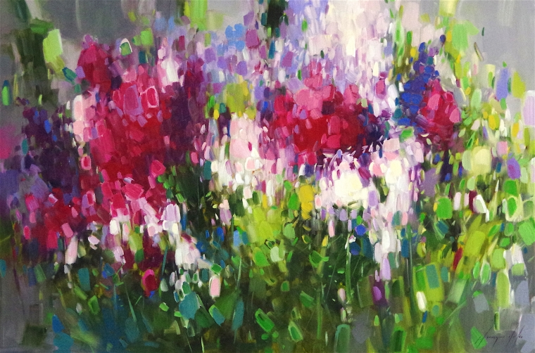 Lilacs, Flowers Original oil Painting, Handmade art, One of a Kind, Signed