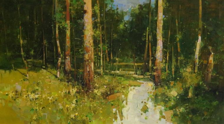 Forest, Landscape Original oil Painting, Large Handmade art, One of a Kind, Signed