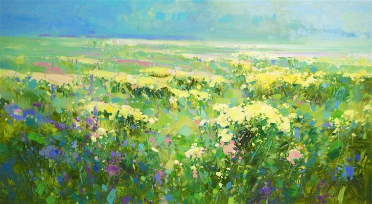 Summer Field, Landscape Original oil Painting, Large Handmade art, One of a Kind, Signed