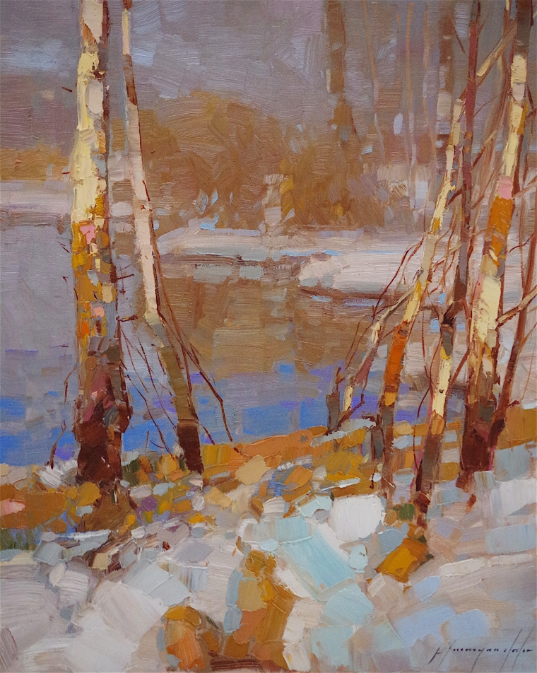 First Snow, Landscape Original oil Painting, Handmade art, One of a Kind, Signed